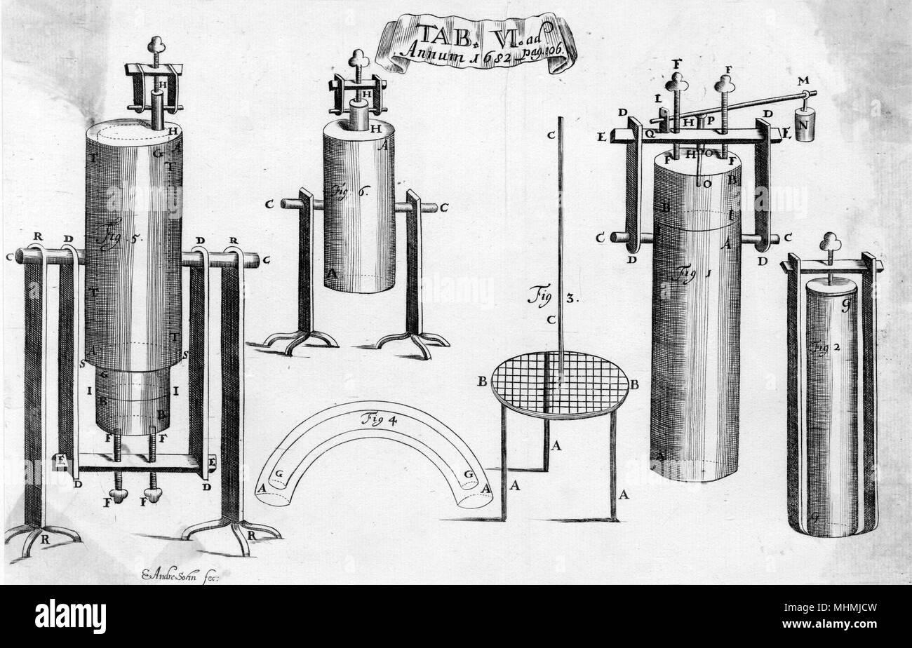 Diagram of Papin's Bone Digester.      Date: 1687 - Stock Image