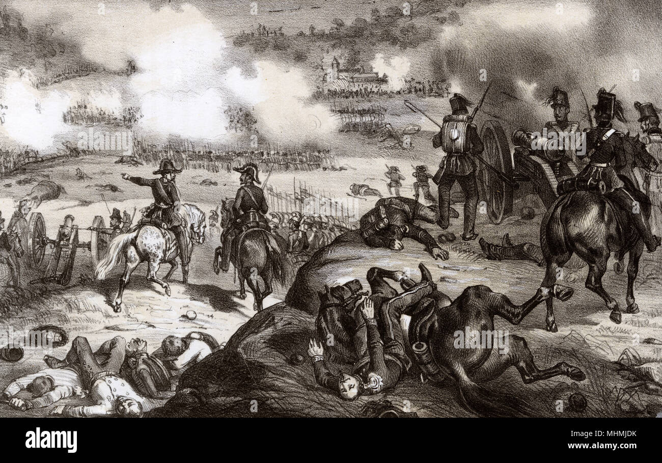 The Austrians are defeated by the Piedmontese at Goito, part of the First Italian War of Independence     Date: 30 May 1848 - Stock Image