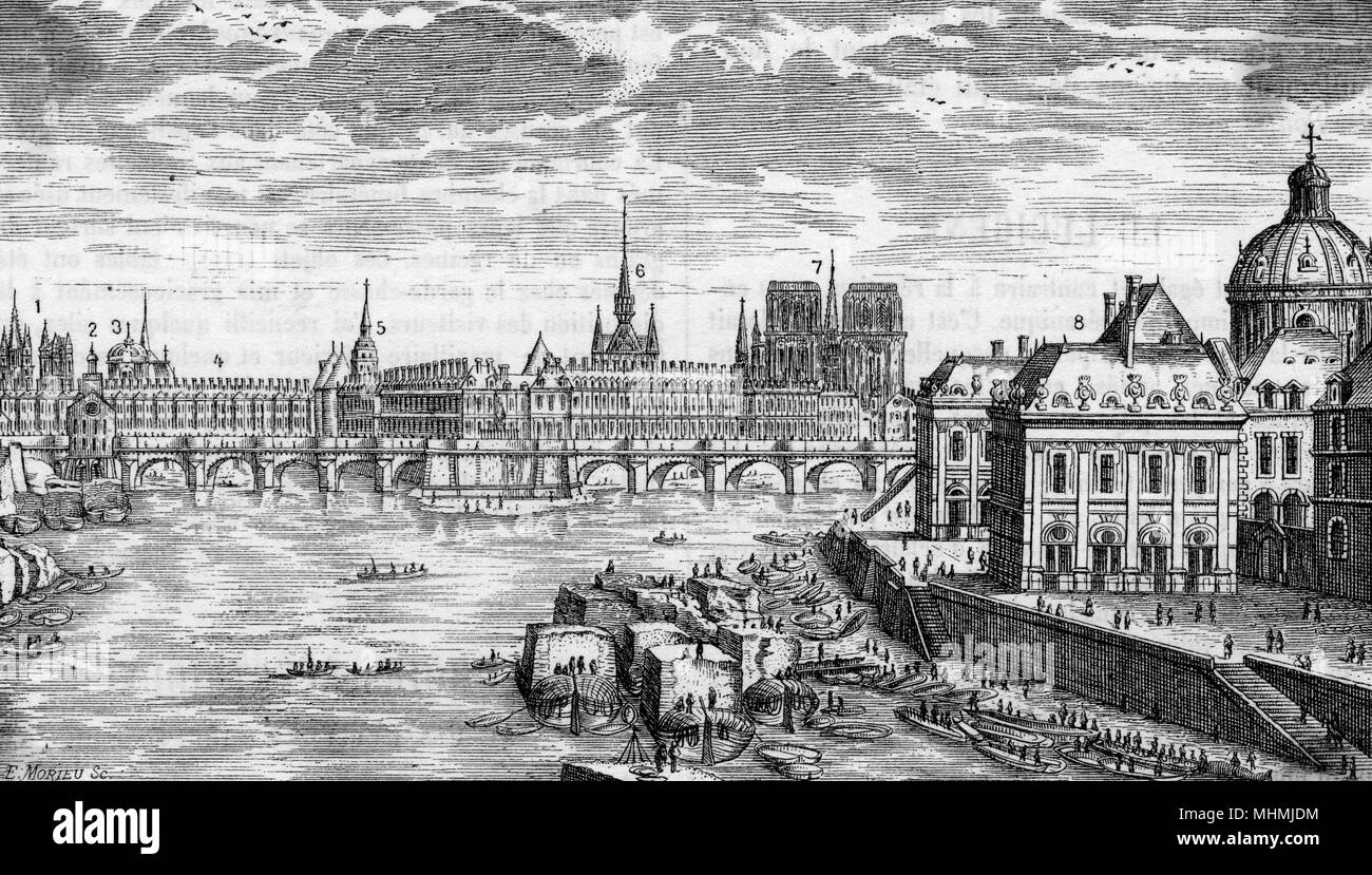 A general view of Paris in the 17th century showing Le Pont- neuf and Notre Dame in the distance      Date: 17th century - Stock Image