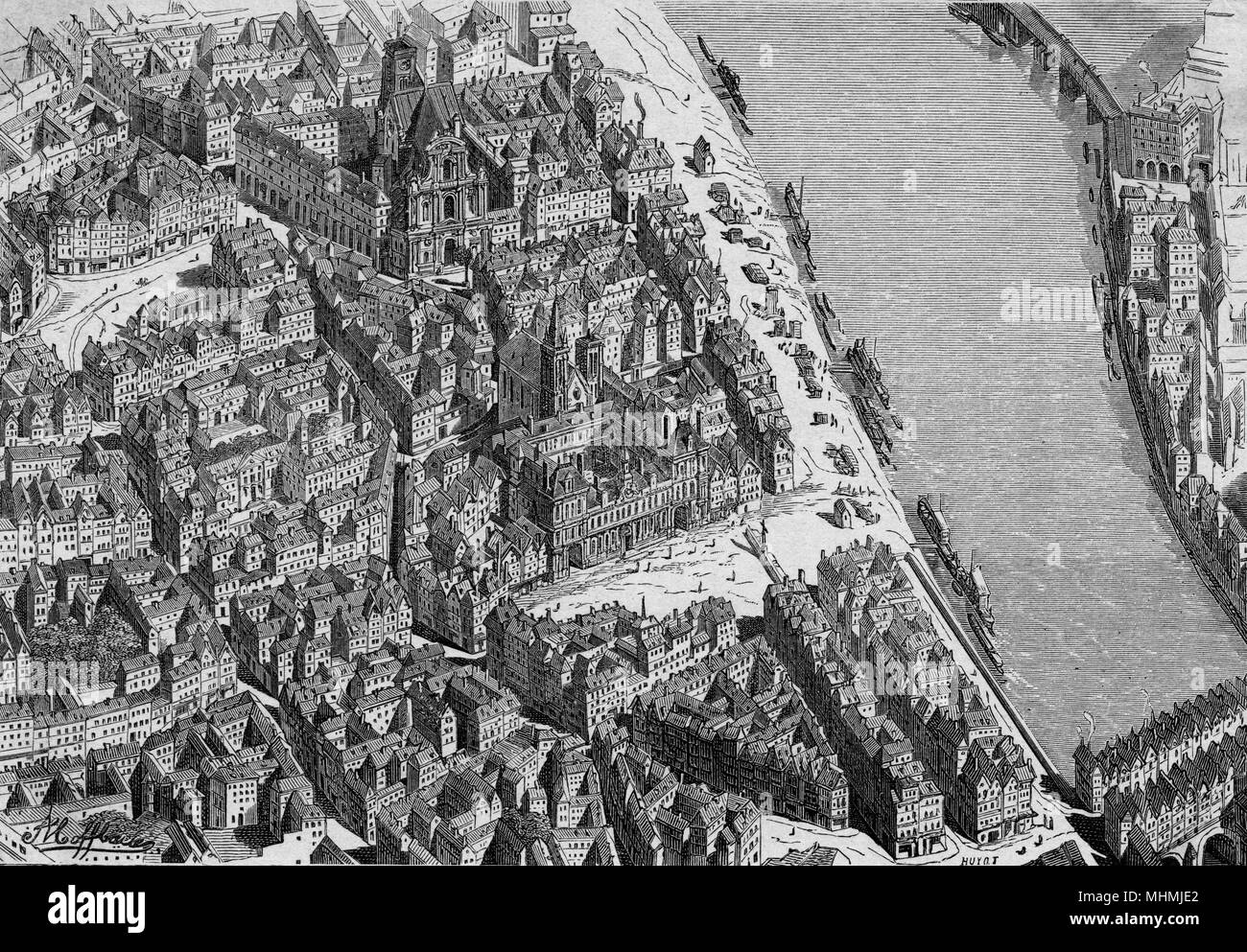 A bird's-eye view of Paris in the 18th century       Date: 18th century - Stock Image