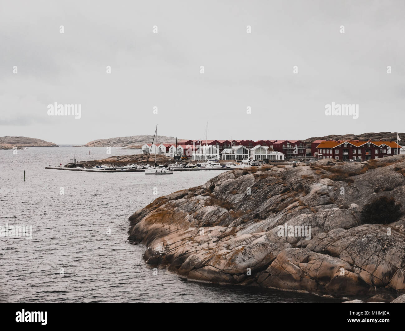 An overcast day in Smögen, Sweden. The swedish west coast. - Stock Image