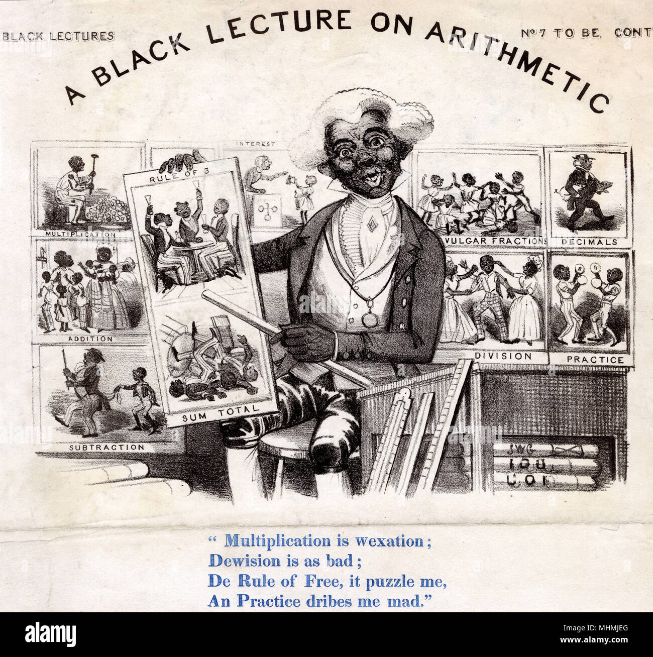A BLACK LECTURE ON ARITHMETIC Each mathematical rule is described as an attribute of black people - in a none too complimentary way     Date: 19th century - Stock Image