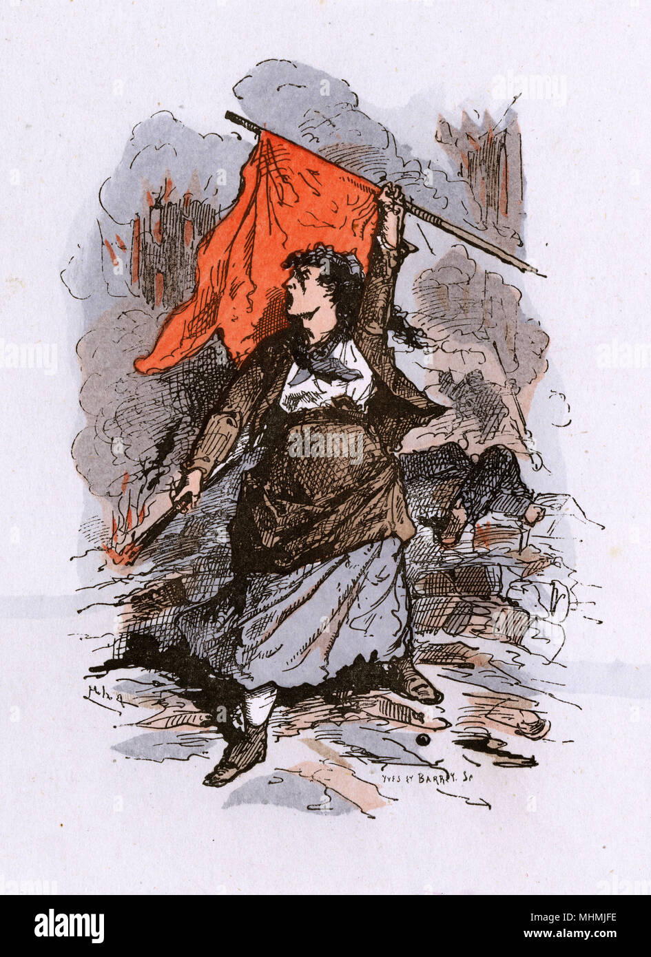 A defiant woman Communard holds aloft the red flag as  she stands on a barricade erected to defend Paris from government troops      Date: 1871 - Stock Image