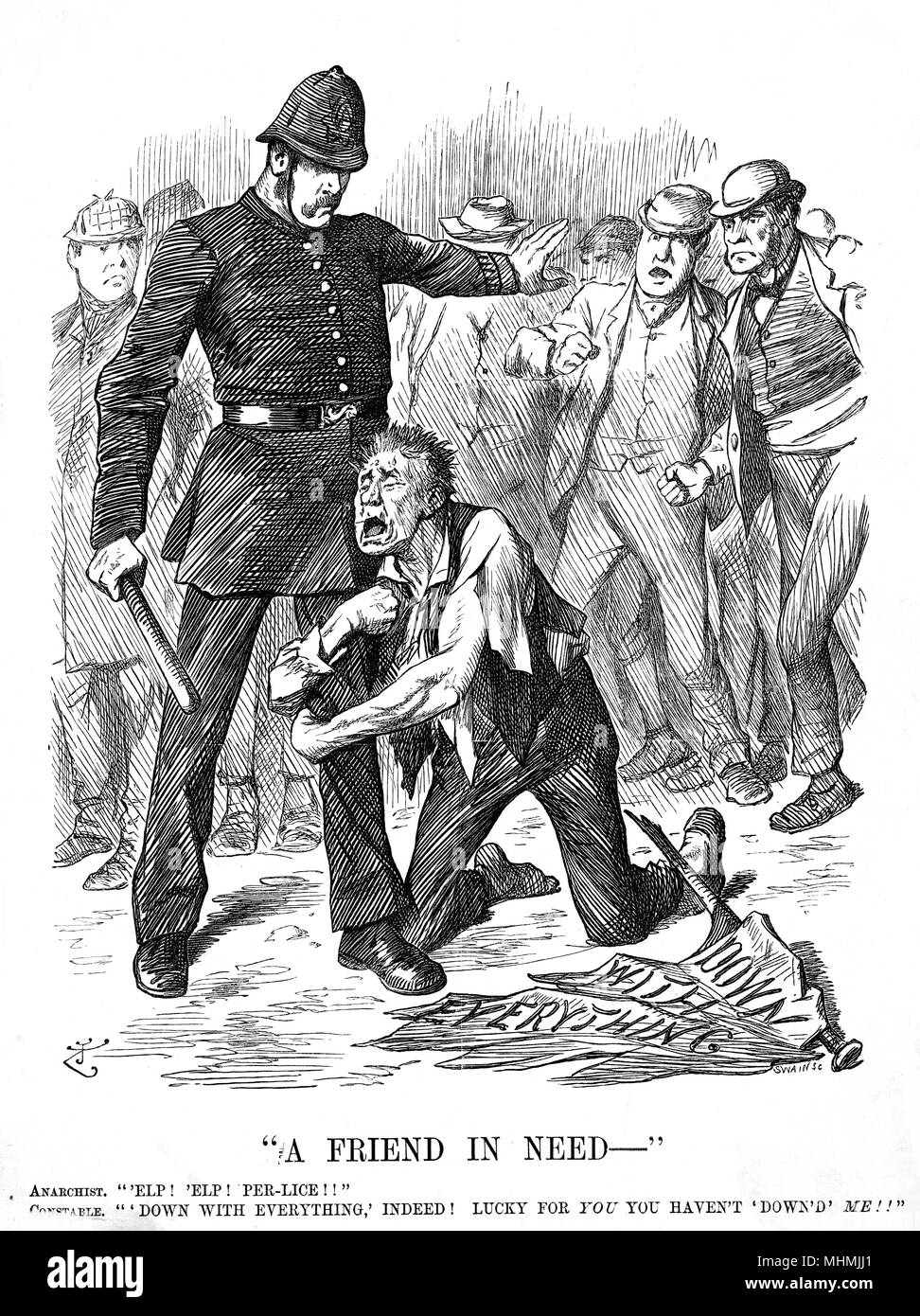 'A Friend in Need' An anarchist protestor seeks police protection from an angry crowd.      Date: 1894 - Stock Image