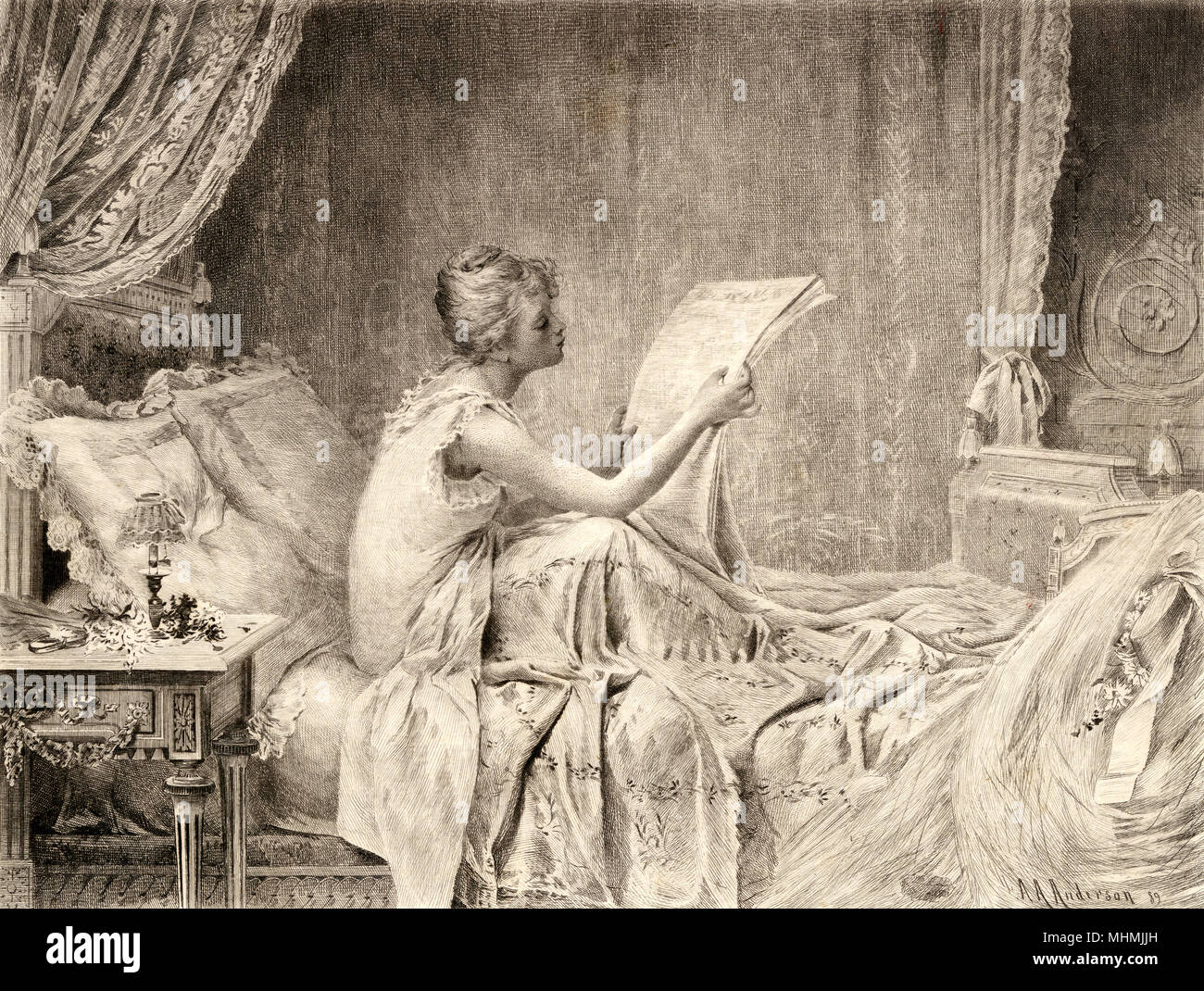 THE MORNING AFTER THE BALL A pretty girl sits up in bed to read the morning newspaper's review about the ball she attended.     Date: 1889 - Stock Image