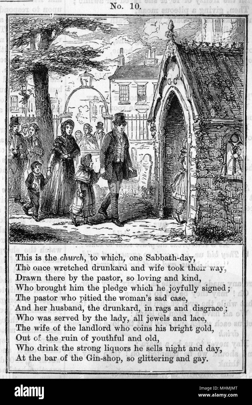 The drunkard having signed the pledge goes with his family to church.  plate 10 of 12     Date: 1868 - Stock Image