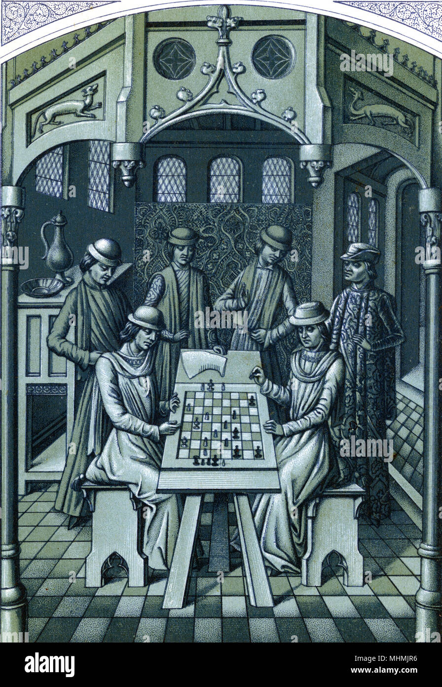 King Louis XI of France - that's him on the right - plays chess at his chateau of Plessis-les- Tours      Date: circa 1480 - Stock Image