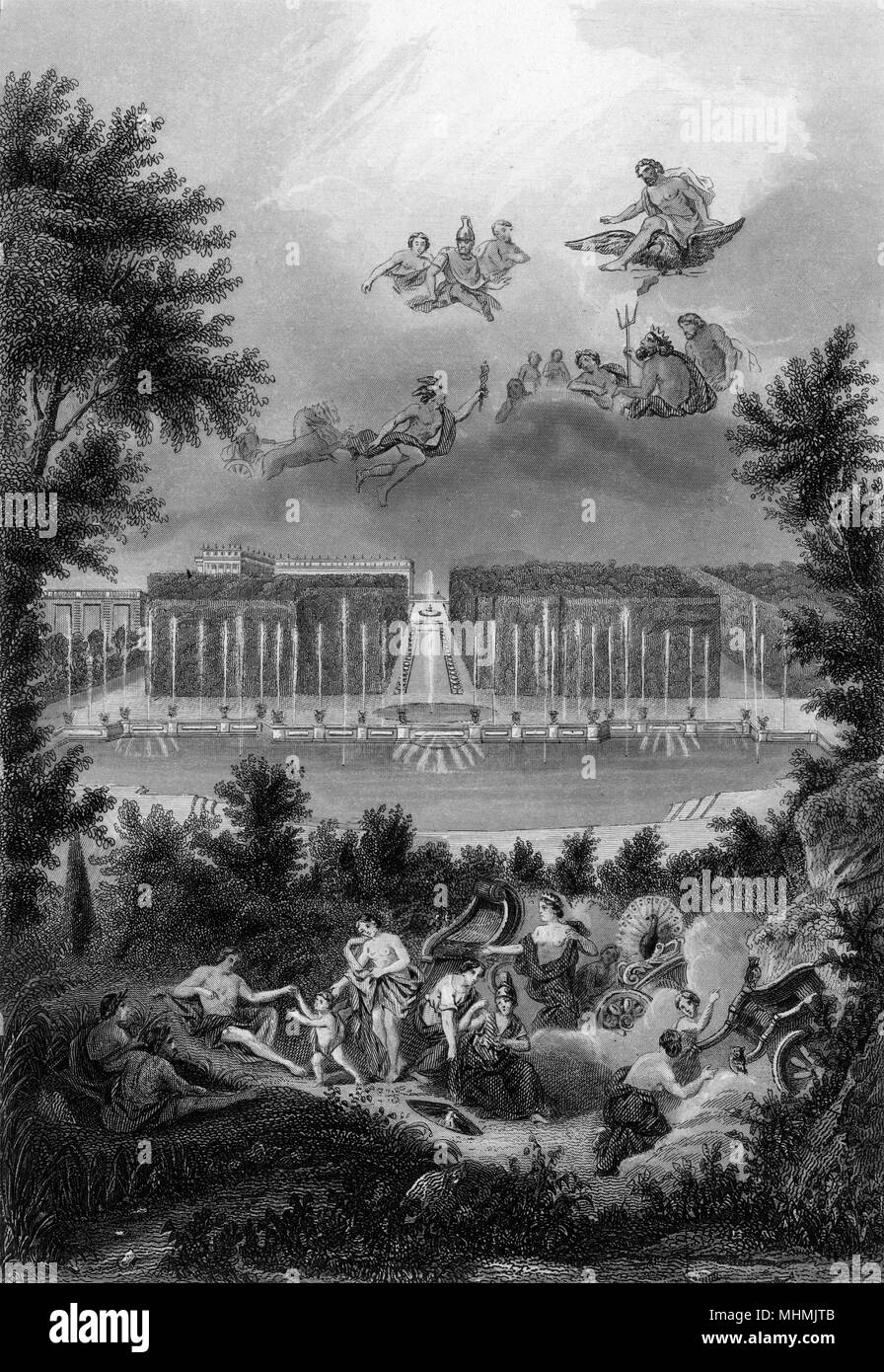 BASSIN DE NEPTUNE Figures from mythology disport round the pool, but they hide themselves when Louis and his courtiers come out of the palace for some fresh air     Date: 1688 - Stock Image