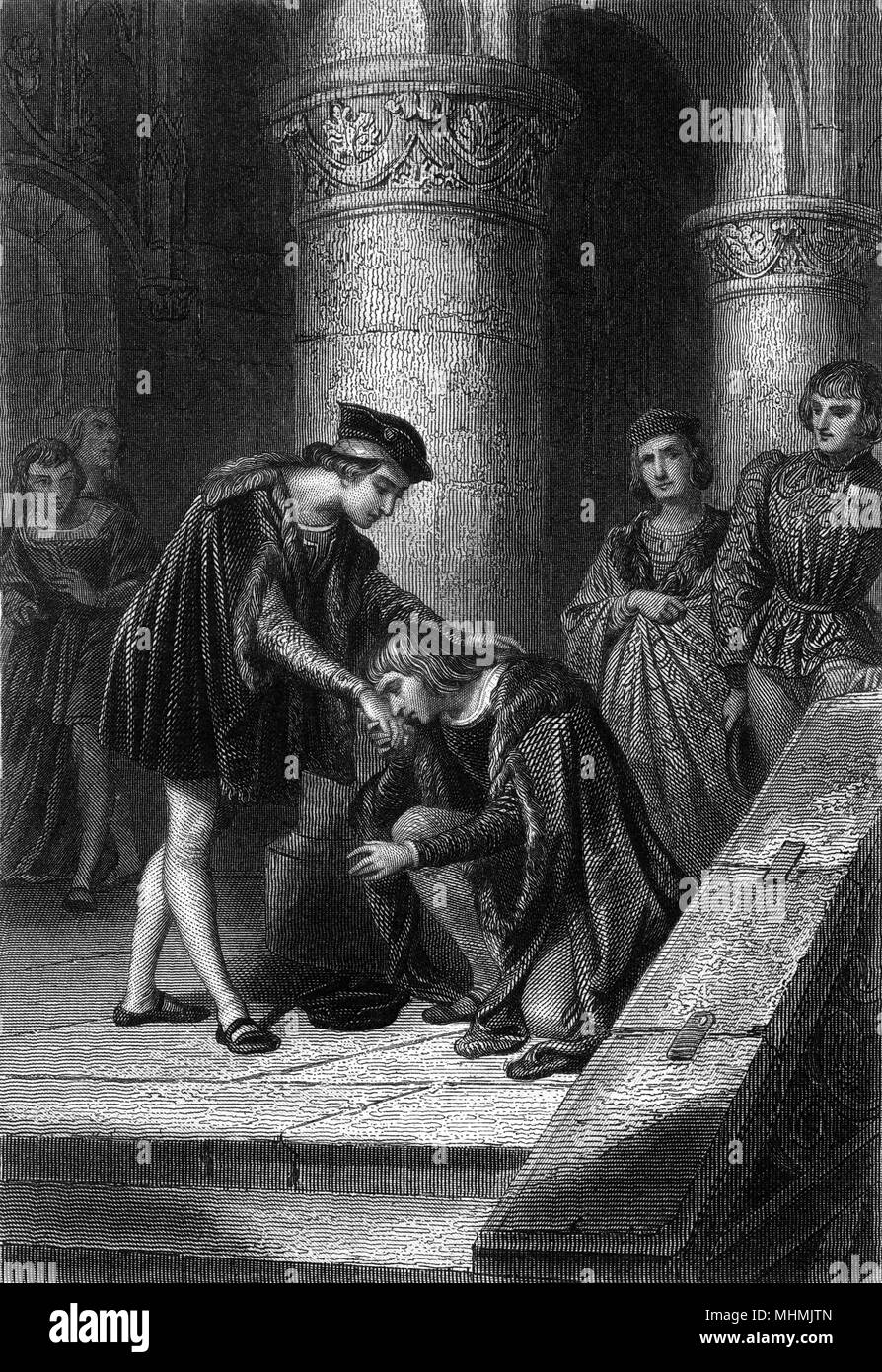 Young Charles VIII releases from prison Louis d'Orleans, one of the rebels opposing the crown. The reconciliation leads to Louis succeeding Charles as Louis XII     Date: 1491 - Stock Image