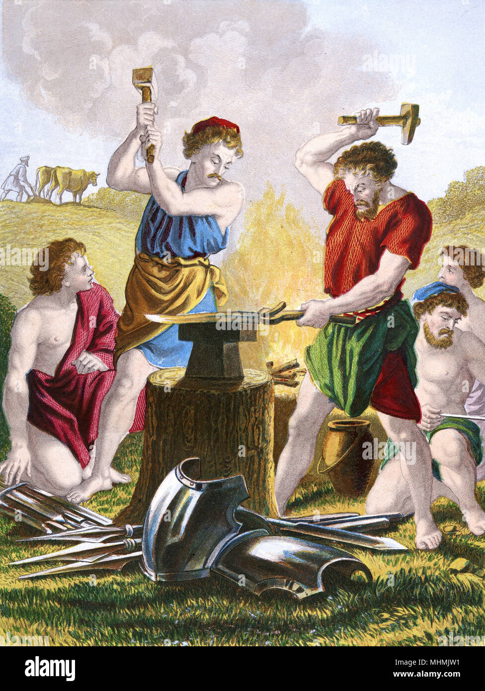 Two smiths beat swords into plowshares, which are much more useful       Date: circa 1860 - Stock Image