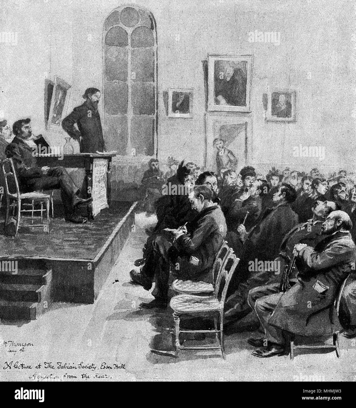 A meeting of the FABIAN SOCIETY at Essex Hall, London: the society favours the gradual, peaceful introduction of socialism, rather than by violent revolution     Date: 1892 - Stock Image