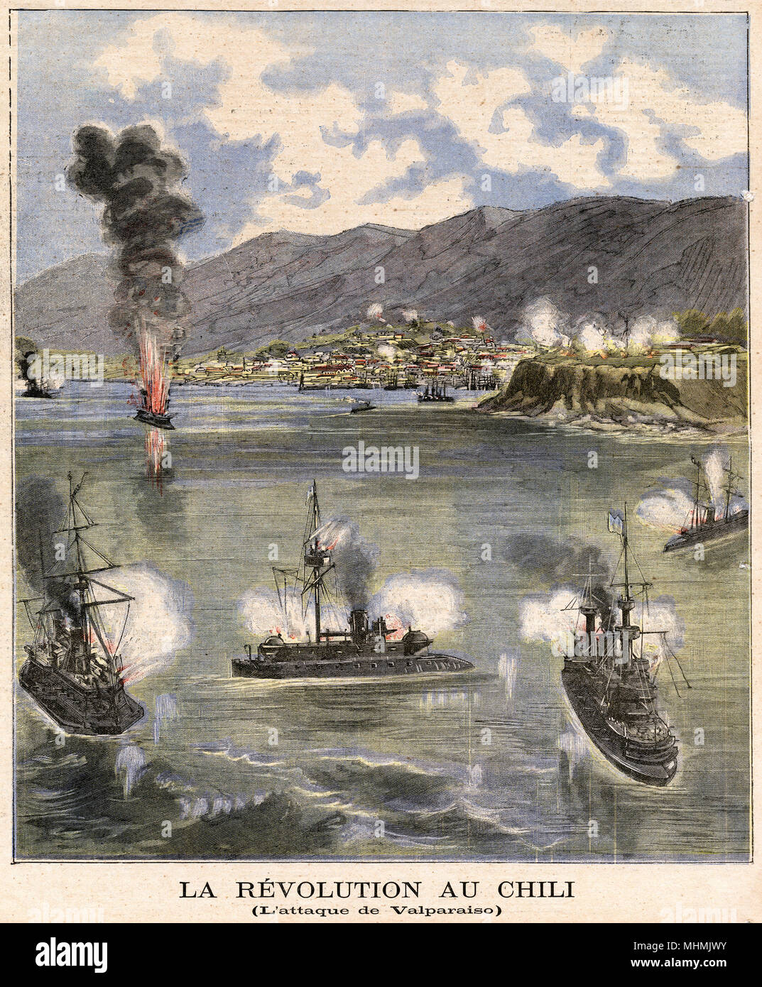 Revolutionary rebels attack Valparaiso.       Date: 1891 - Stock Image