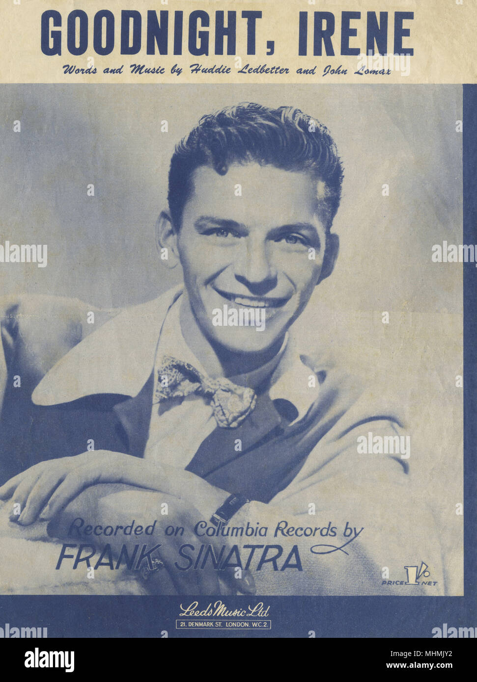 FRANK SINATRA American singer and film actor: 'Goodnight Irene'      Date: 1915 - 1998 - Stock Image