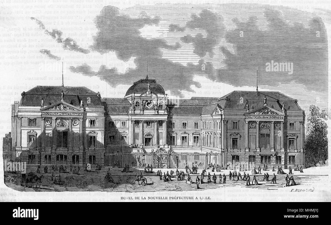 Hotel de la Nouvel Prefecture, Lille.       Date: 1865 - Stock Image
