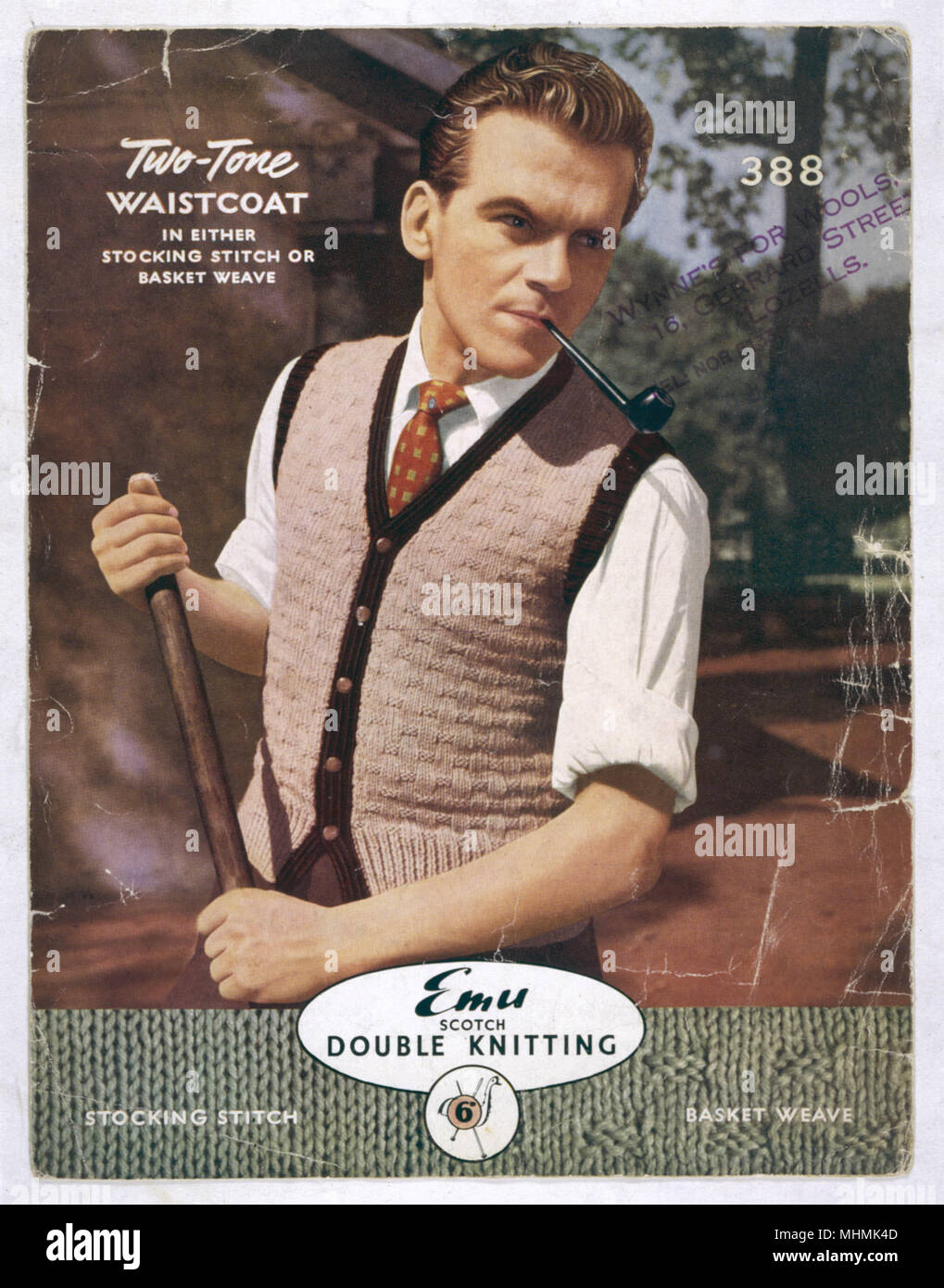 This dependable looking chap partakes of a spot of gardening and what better to keep his chest warm than this knitted two-tone waistcoat using basket weave stitch.     Date: 1950s - Stock Image