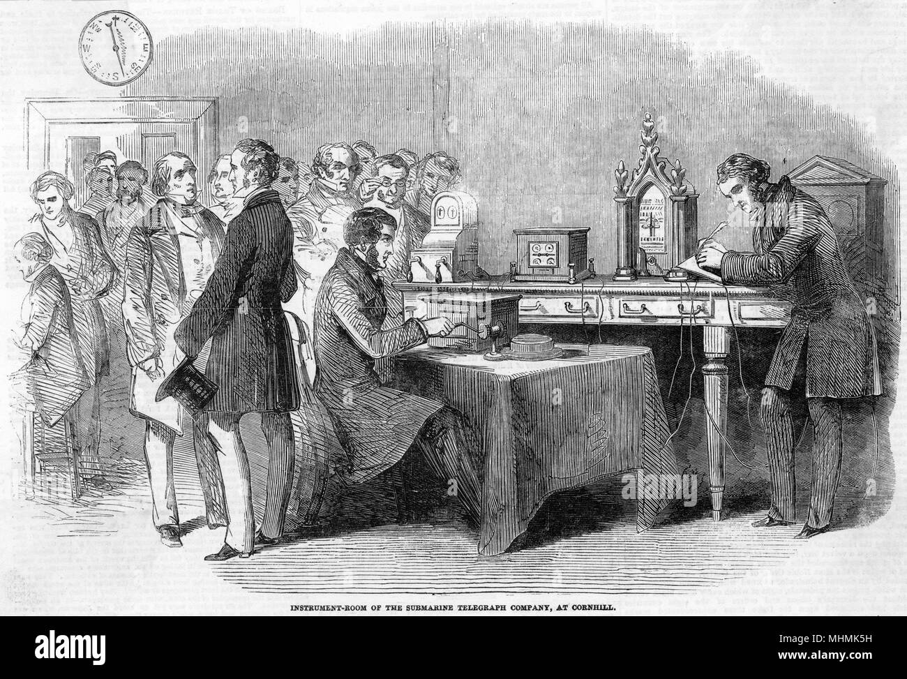 The instrument room of the Submarine Telegraph Company, Cornhill, London       Date: 1851 - Stock Image