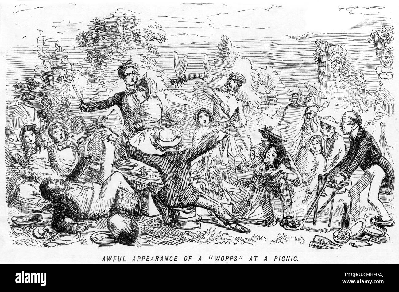 """'Awful appearance of a """"wopps"""" at a picnic': picnic guests are severely bothered when a rather large wasp takes an interest in their food, one of the hazards of outdoor eating     Date: circa 1840 - Stock Image"""