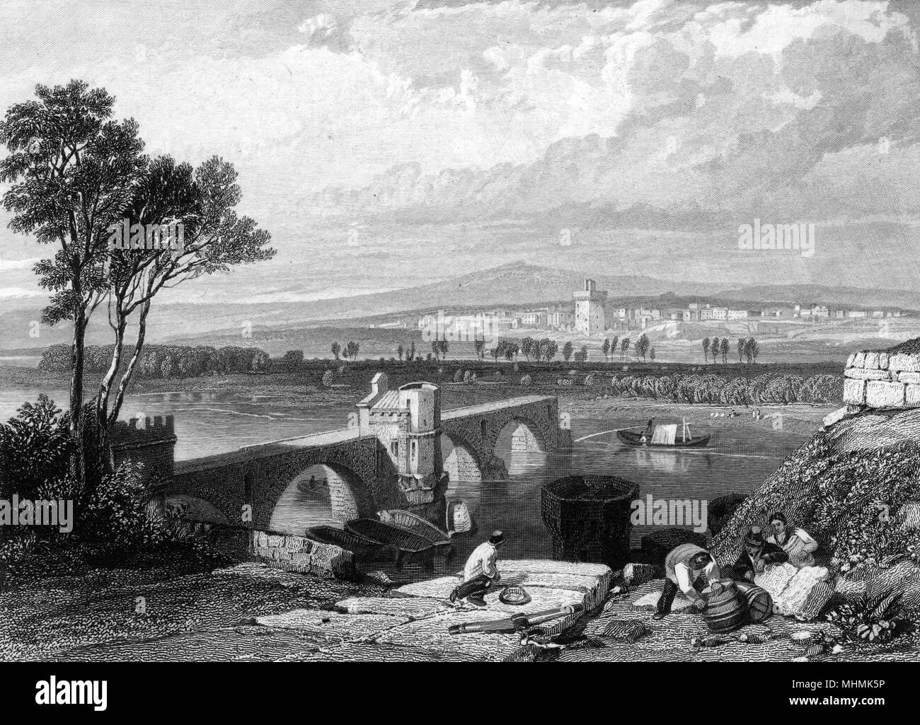 Avignon: the partially completed bridge, with people working in the foreground      Date: 19th century - Stock Image