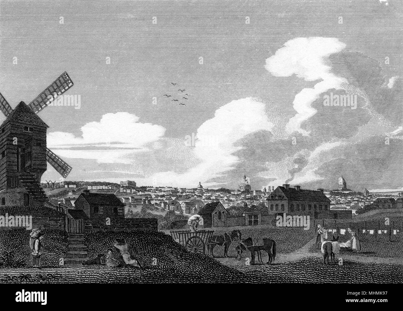 Paris: general view from the south      Date: 1816 - Stock Image