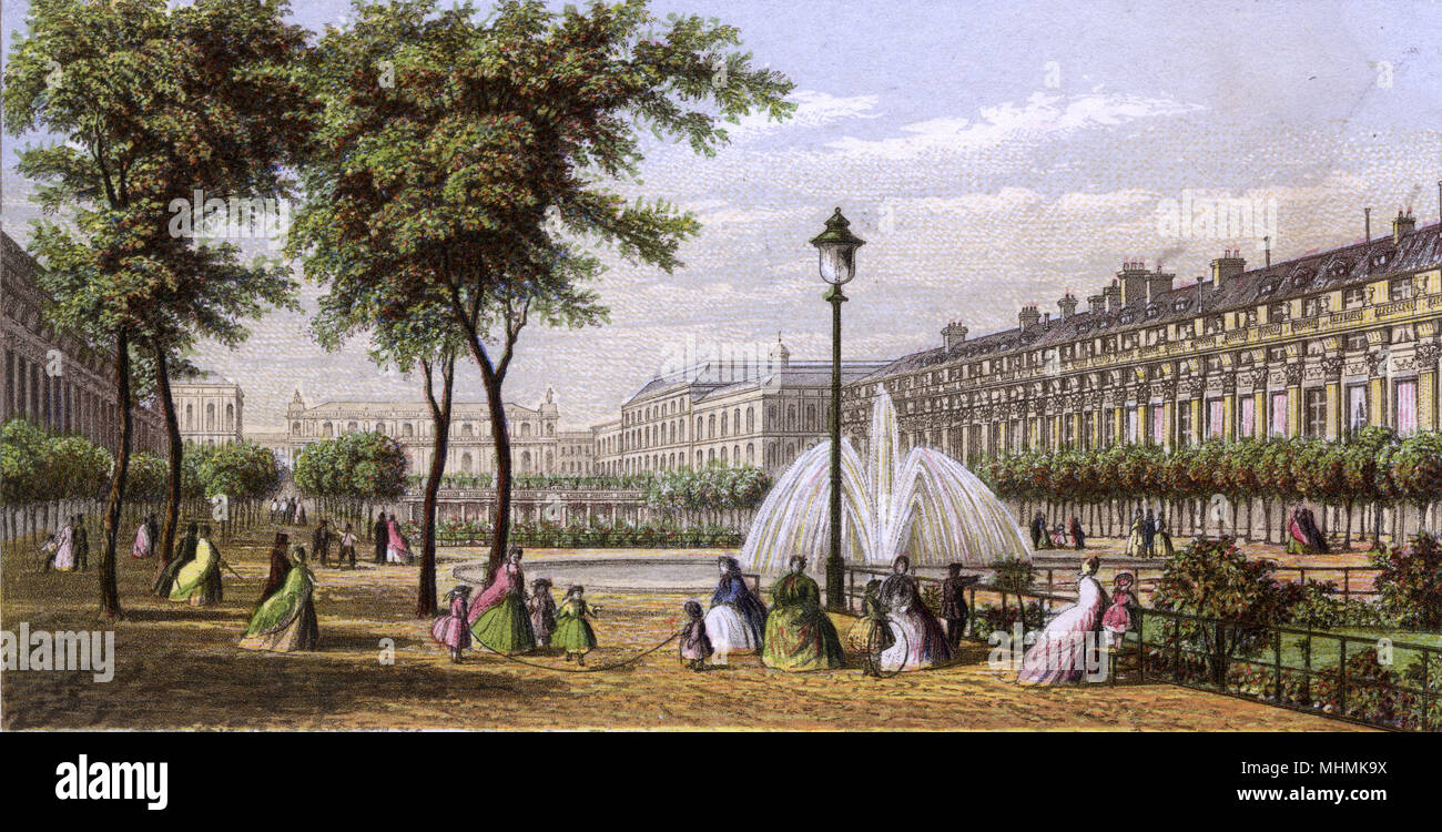 Palais Royal: women out for a stroll, and children playing      Date: circa 1860 - Stock Image