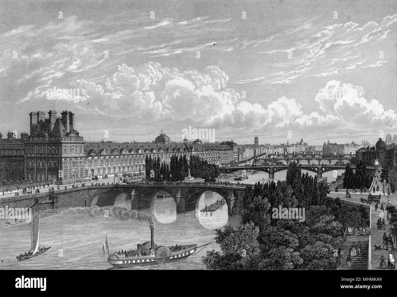 the Seine, with the Louvre on the left, viewed from the Quay d'Orsay      Date: circa 1845 - Stock Image