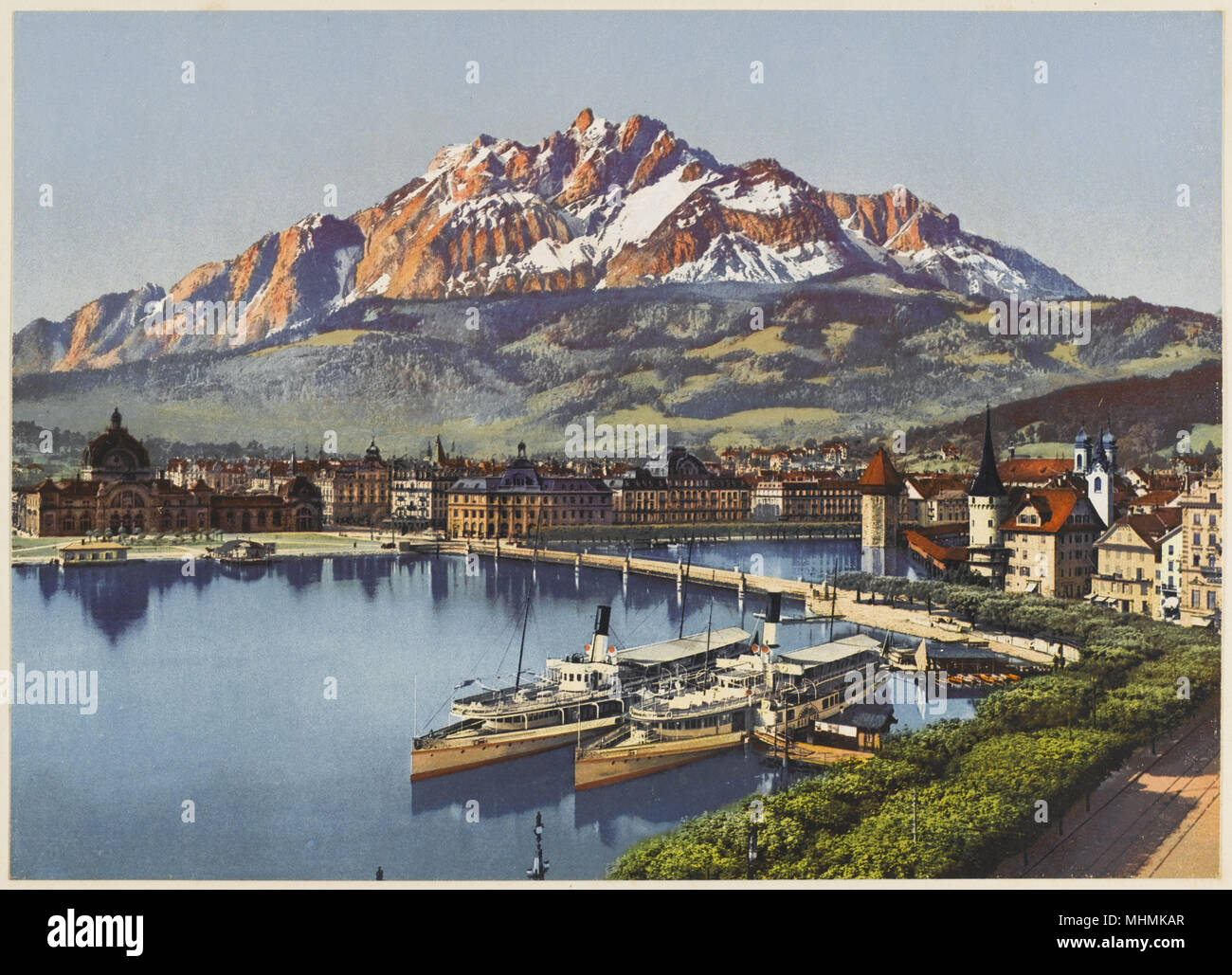 Lucerne and Mount Pilatus       Date: early 20th century - Stock Image