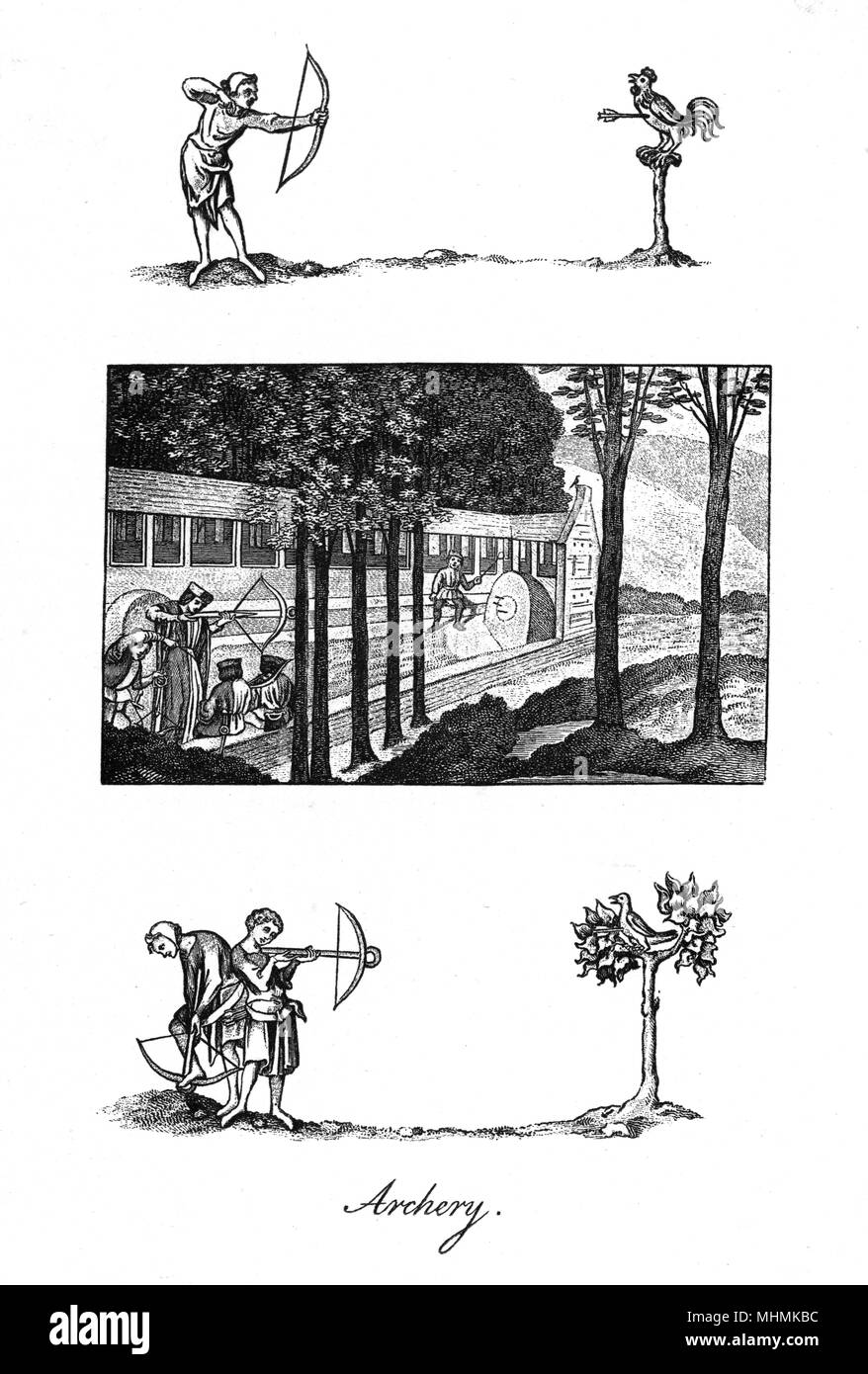 Medieval archers practise their aim by shooting at both targets and local wildlife.       Date: medieval - Stock Image
