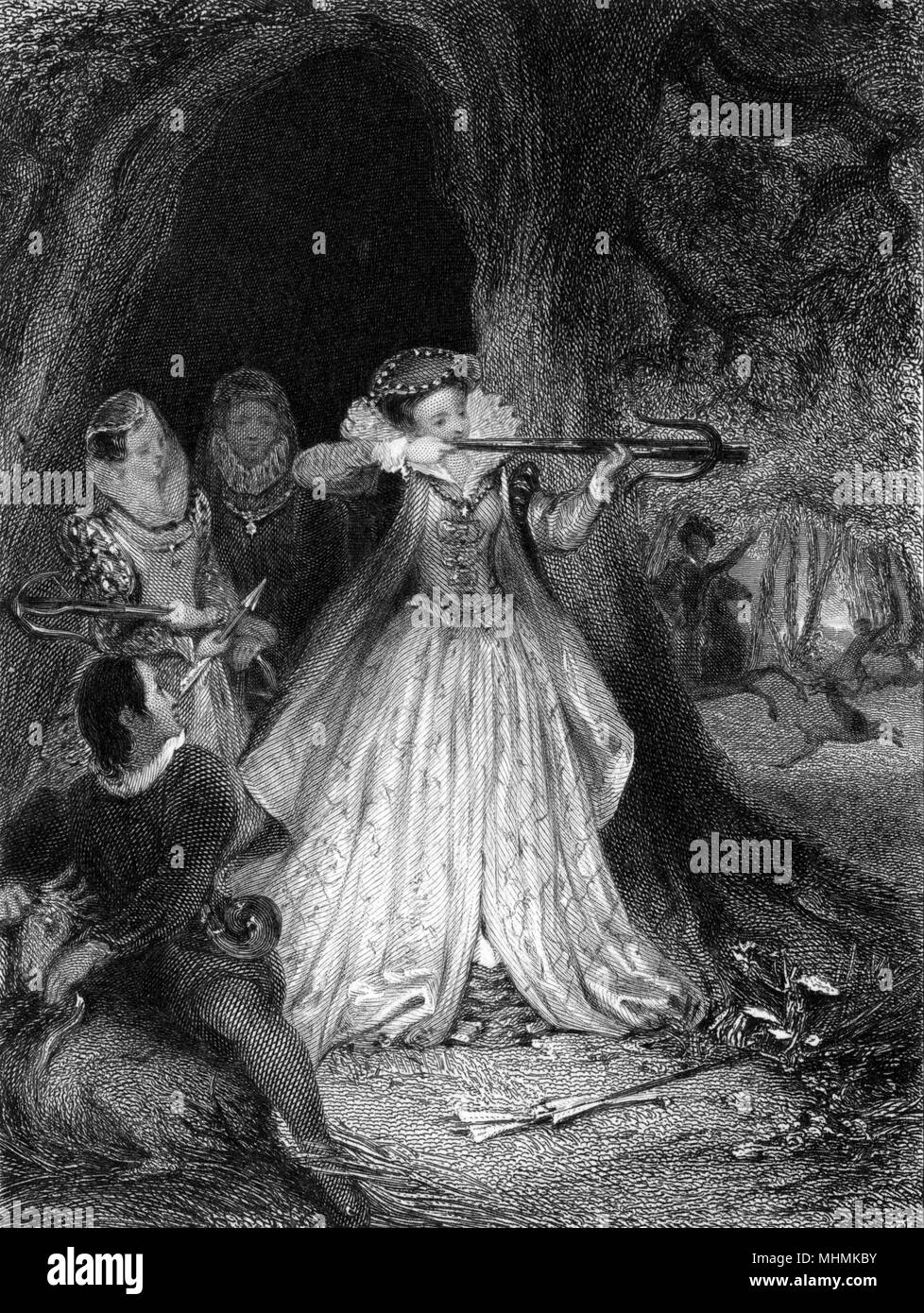 Queen Elizabeth I takes aim with a crossbow in Woodstock Park, while her ladies-in- waiting look on attentively.      Date: circa 1580 - Stock Image
