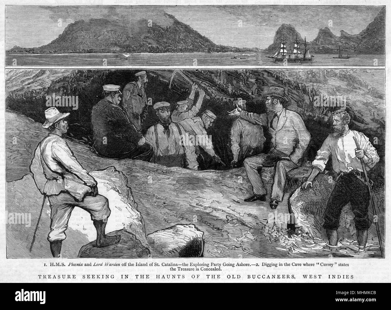 Digging in a cave, seeking treasure left behind by pirates in the West Indies.       Date: 1882 - Stock Image