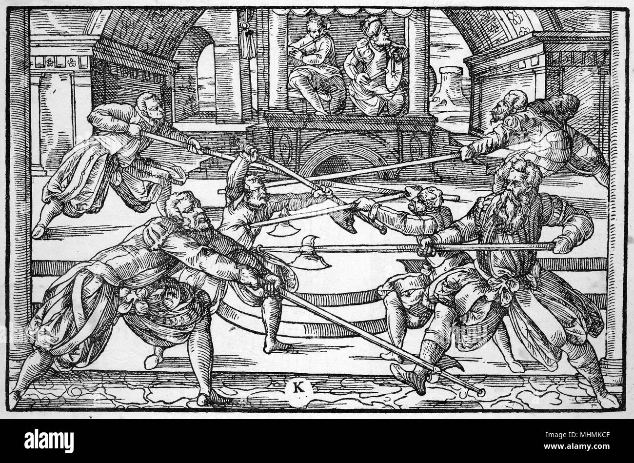 Three pairs of fencers fight with pikes, as musicians play in the background.       Date: 1570 - Stock Image