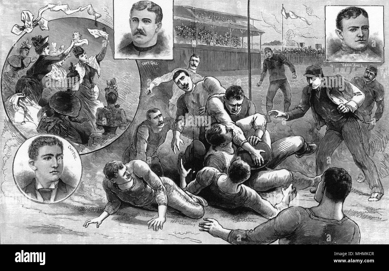 Princeton and Yale battle for the Championship in a fierce match at Berkeley Oval.       Date: 1889 - Stock Image