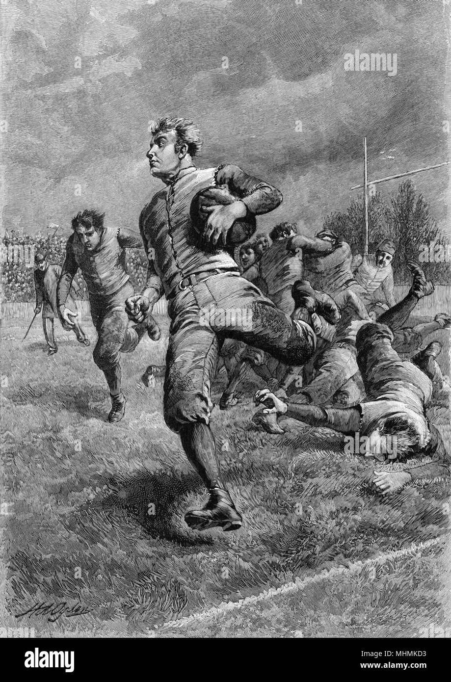 Clutching the ball under his arm, a player sprints for the line as opponents try to intercept him.      Date: 1893 - Stock Image