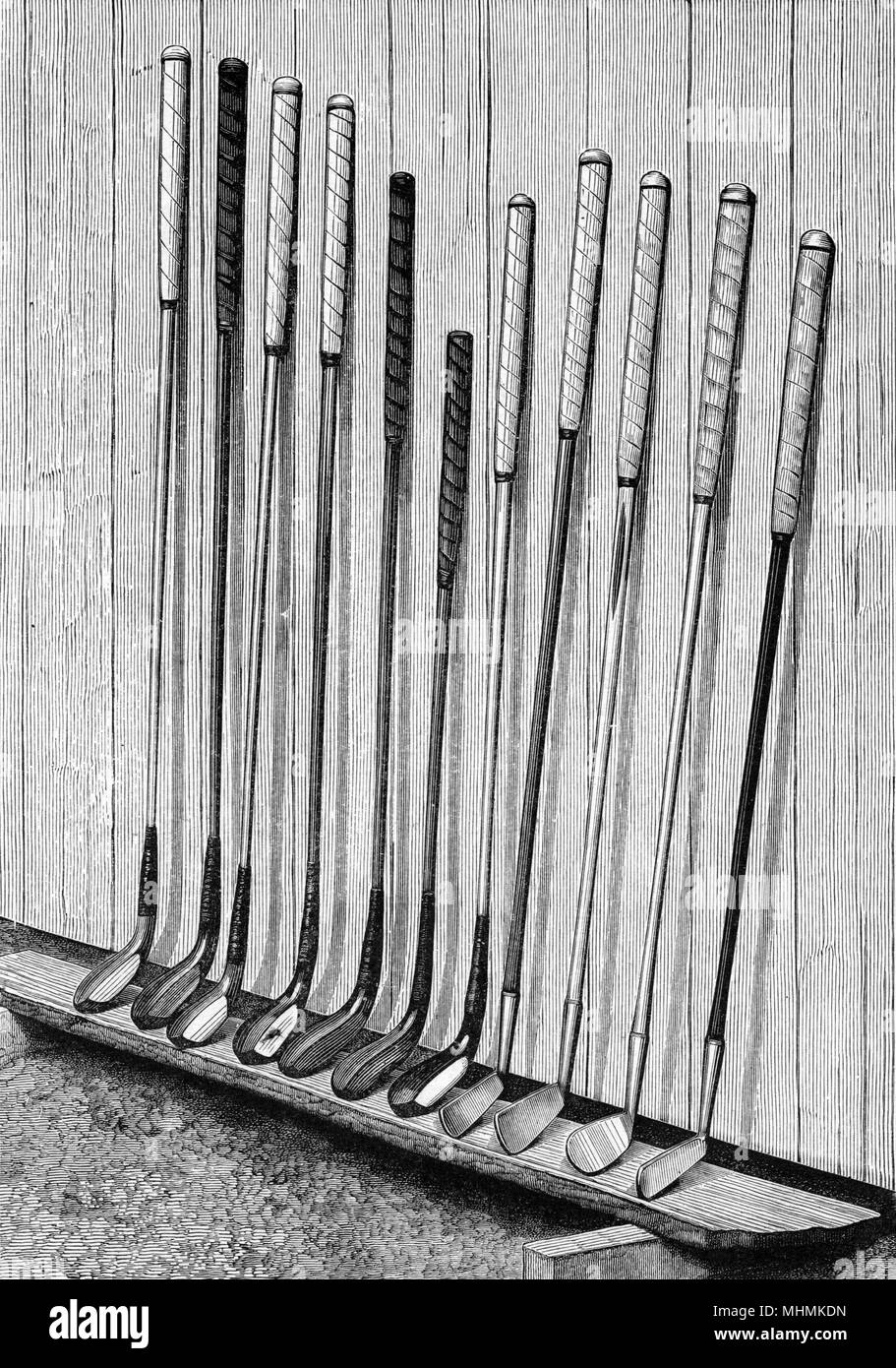 EQUIPMENT  A set of golf clubs.       Date: 1893 - Stock Image