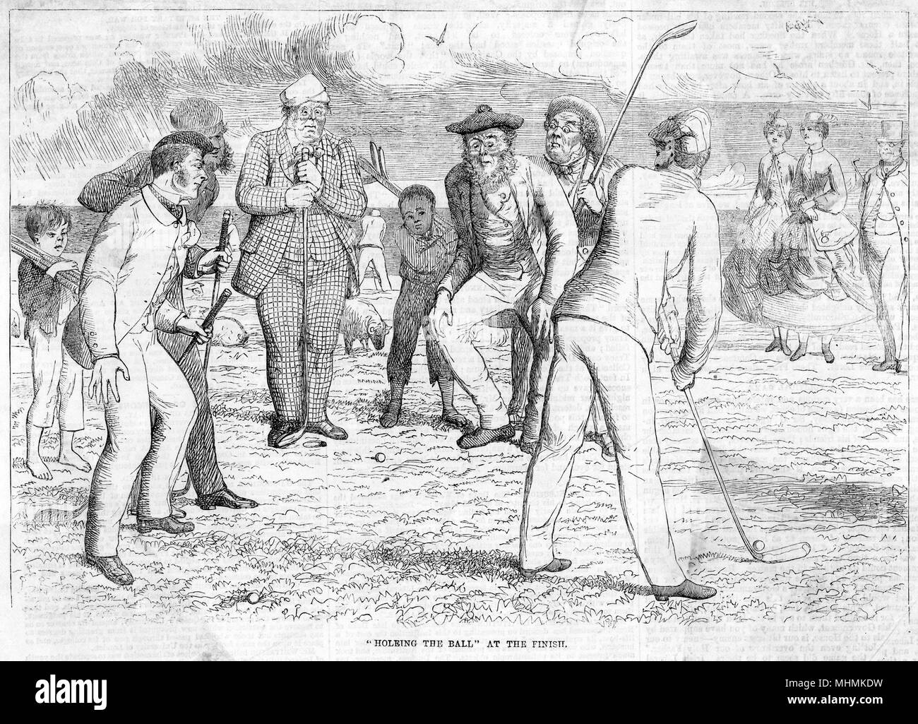 A golfer attempts to hole his final putt on the green, somewhat aided by his partner standing right behind the hole!      Date: 1865 - Stock Image