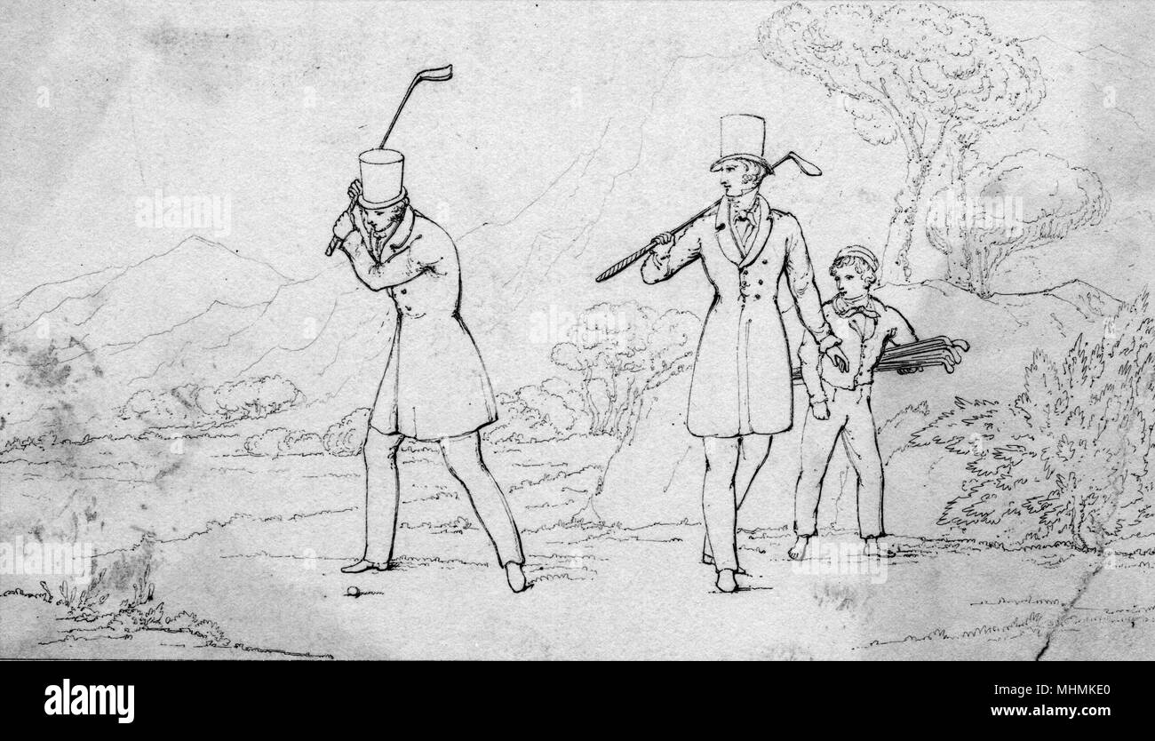 Two golfers wearing top hats tee off, accompanied by a caddy.       Date: 1837 - Stock Image