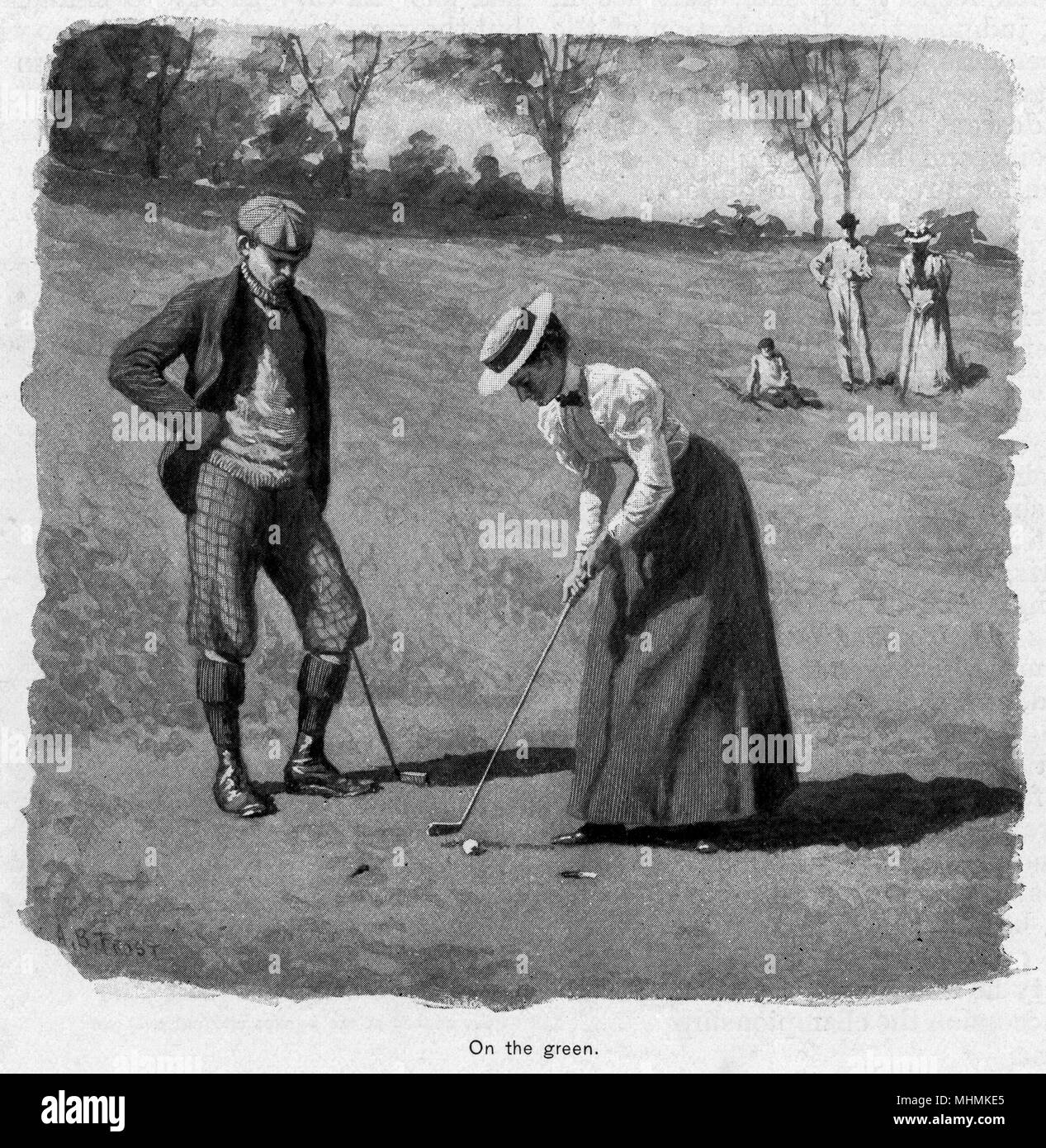 A lady putts out on a green, watched closely by her partner.       Date: 1895 - Stock Image