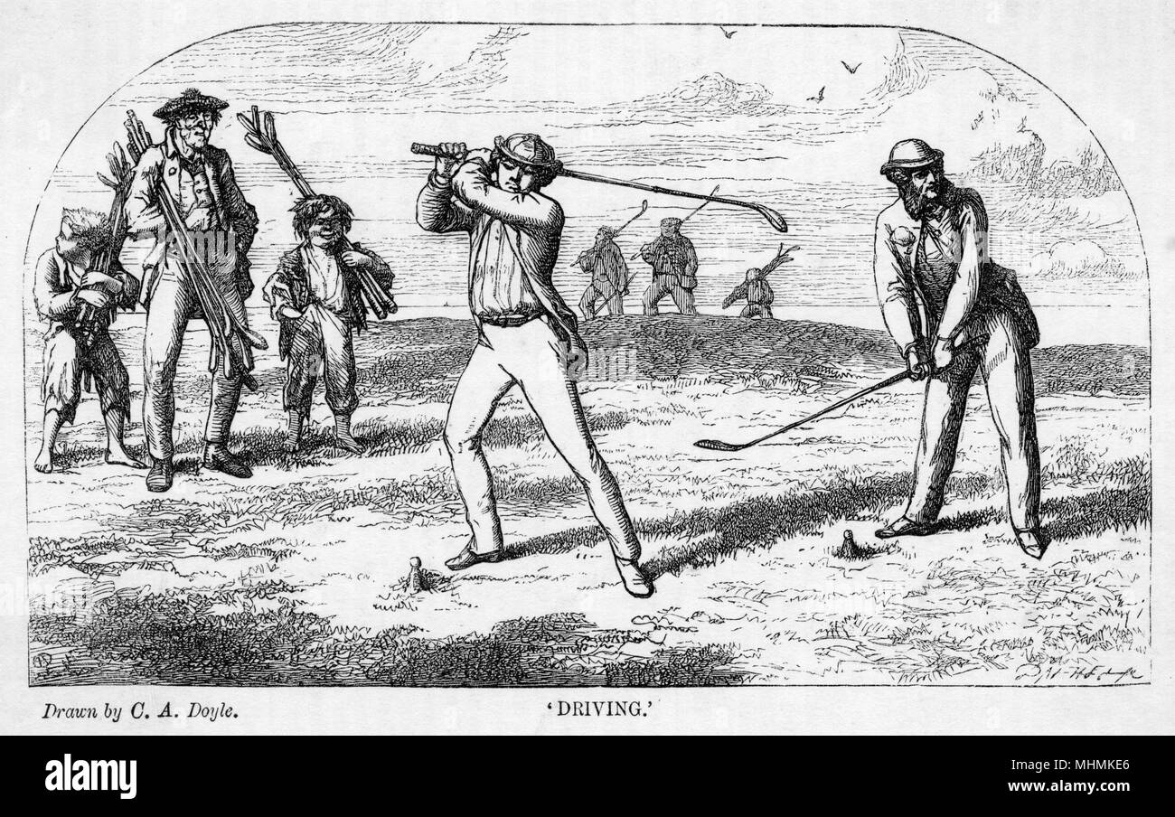 A pair of golfers prepare to tee off, watched by their caddies.       Date: 1863 - Stock Image
