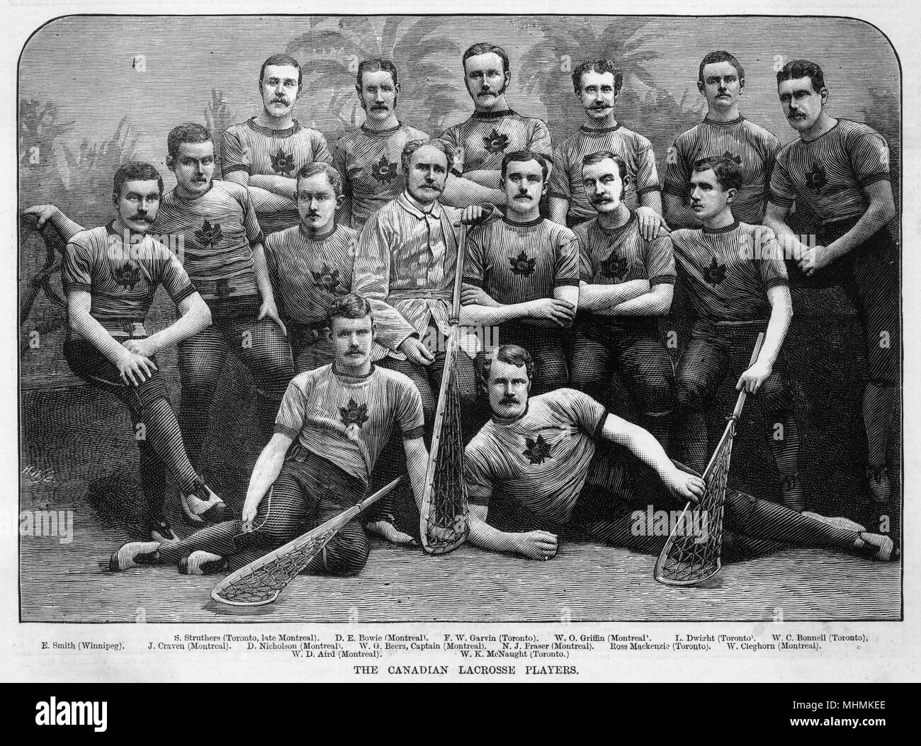 A group picture of the Canadian lacrosse team of 1883.       Date: 1883 - Stock Image
