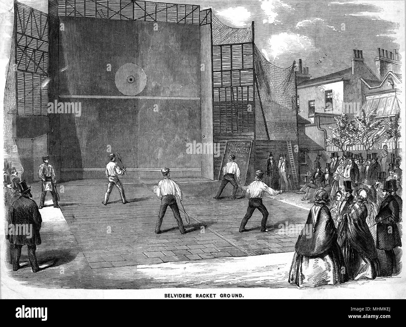 A pairs match is watched by a high-brow crowd at Belvedere.       Date: 1858 - Stock Image