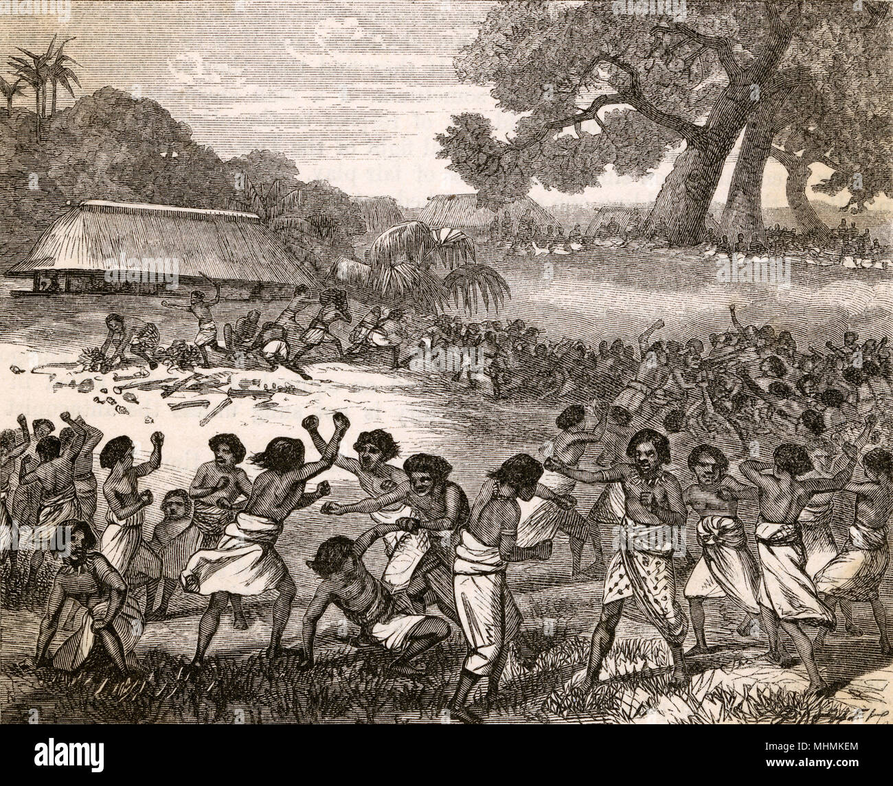 Pugilism in the Pacific as a crowd of Tongans fight during the Tow Tow festival.       Date: 1870 - Stock Image