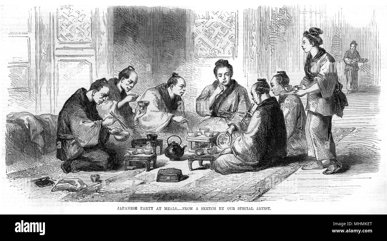 A waitress serves tea to a group of Japanese men       Date: 1854 - Stock Image