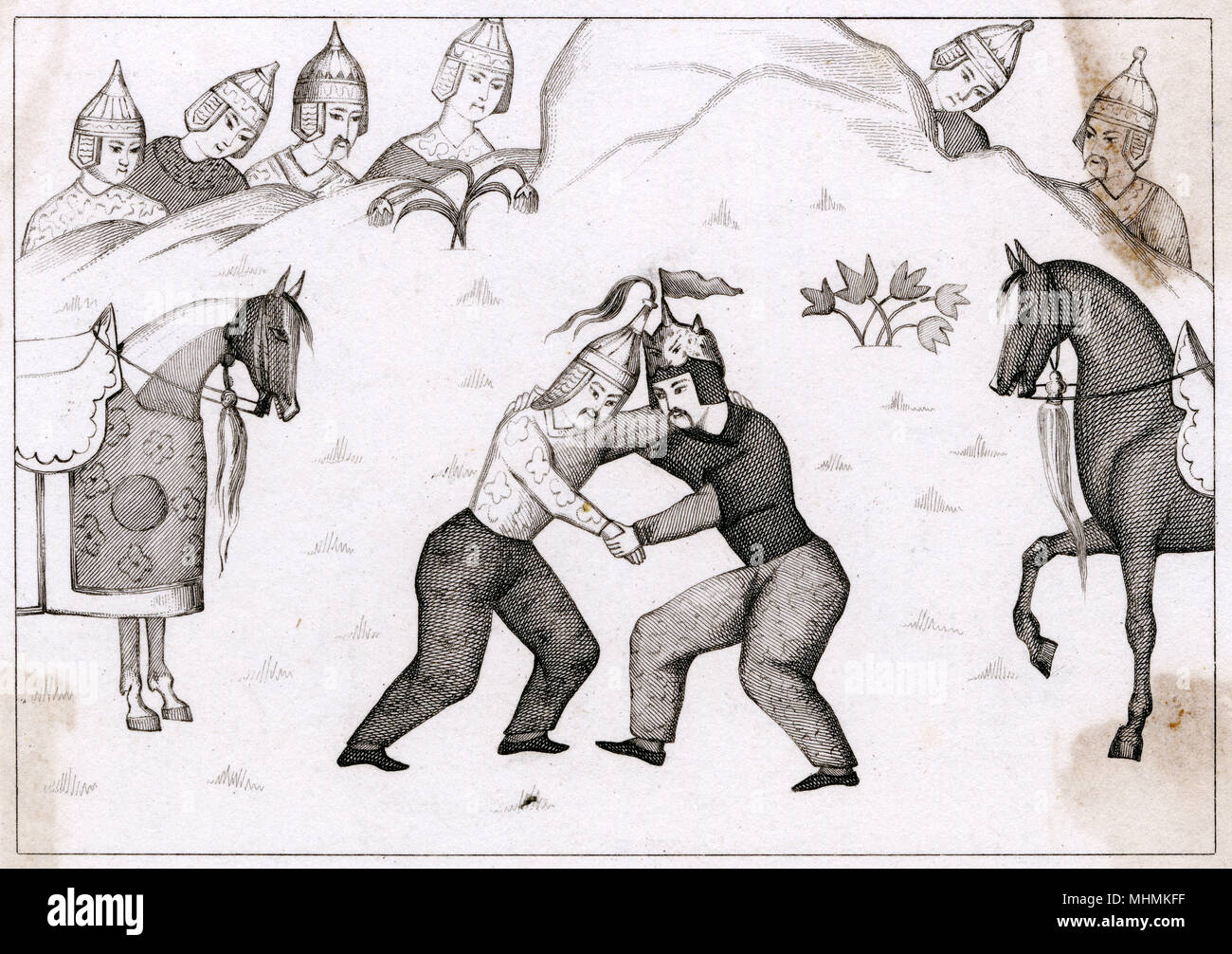 Persian wrestlers struggle against each other, watched by several soldiers.       Date: ancient - Stock Image