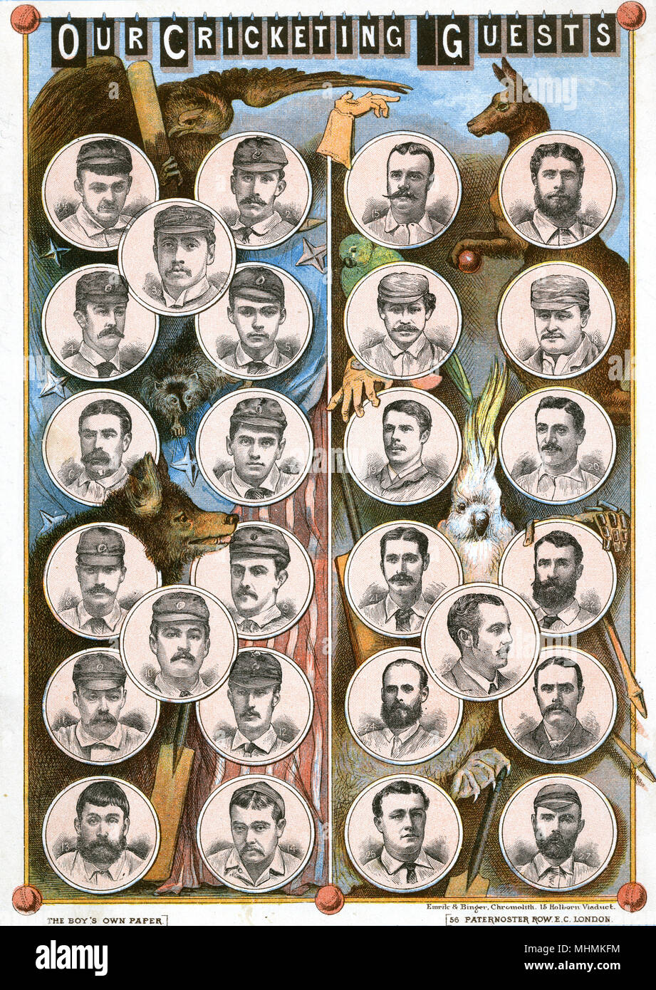 'Our Cricketing Guests' The Philadelphia and Australian touring teams.      Date: 1884 - Stock Image