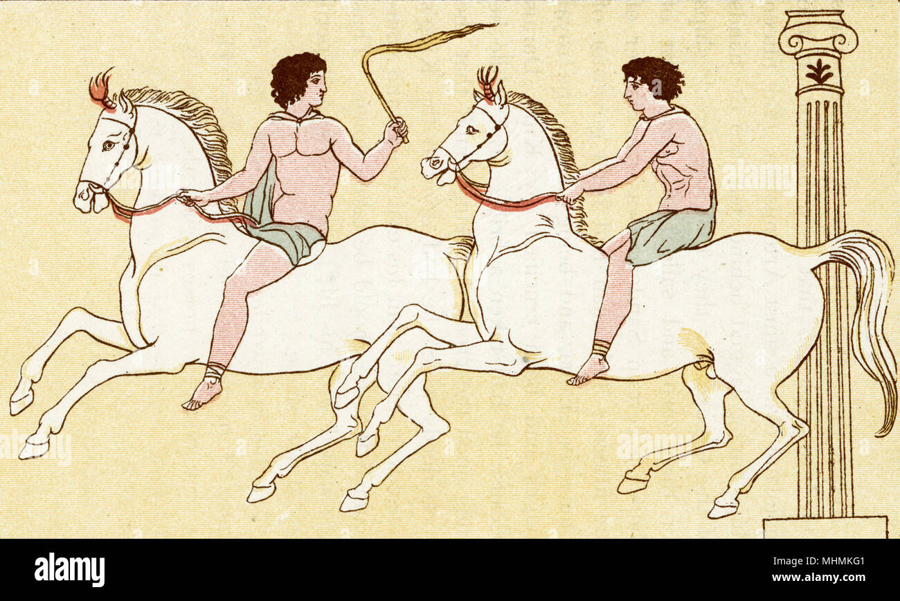 Two riders compete in a Greek horse race.       Date: ancient - Stock Image