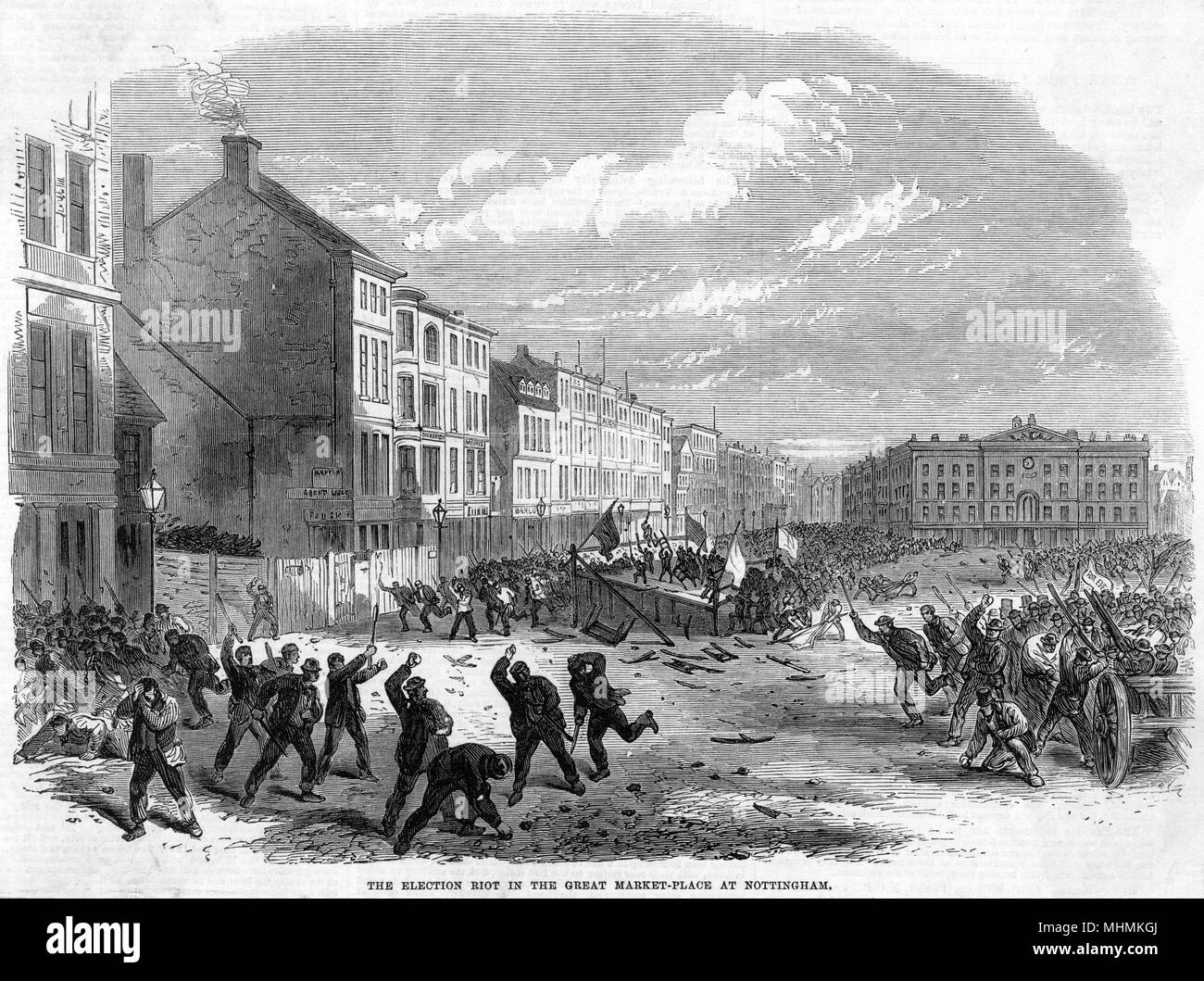 An election riot takes place in Market Square, Nottingham.       Date: 1865 - Stock Image