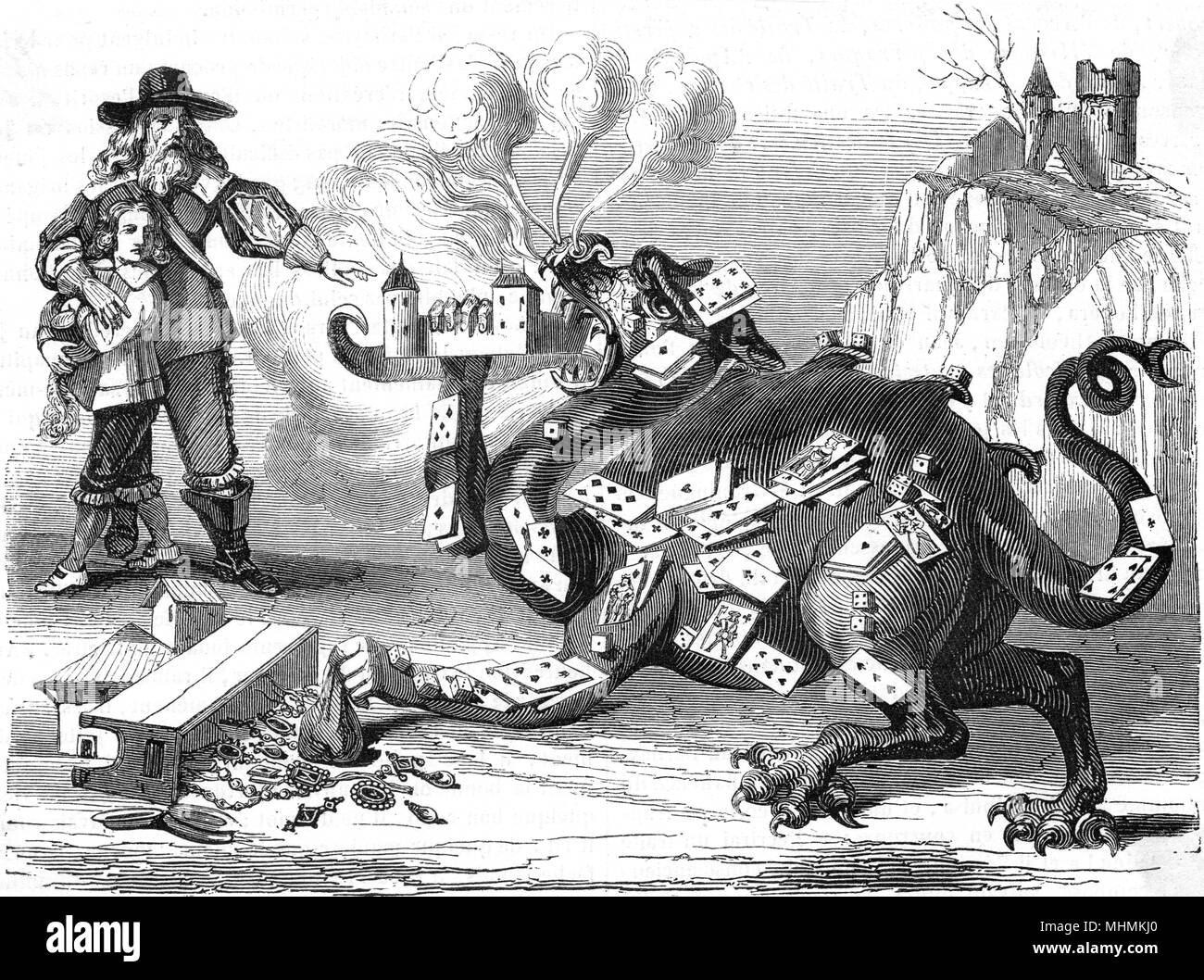 The demon of gambling will eat its way through all your worldly possessions in the end...      Date: 17th century - Stock Image