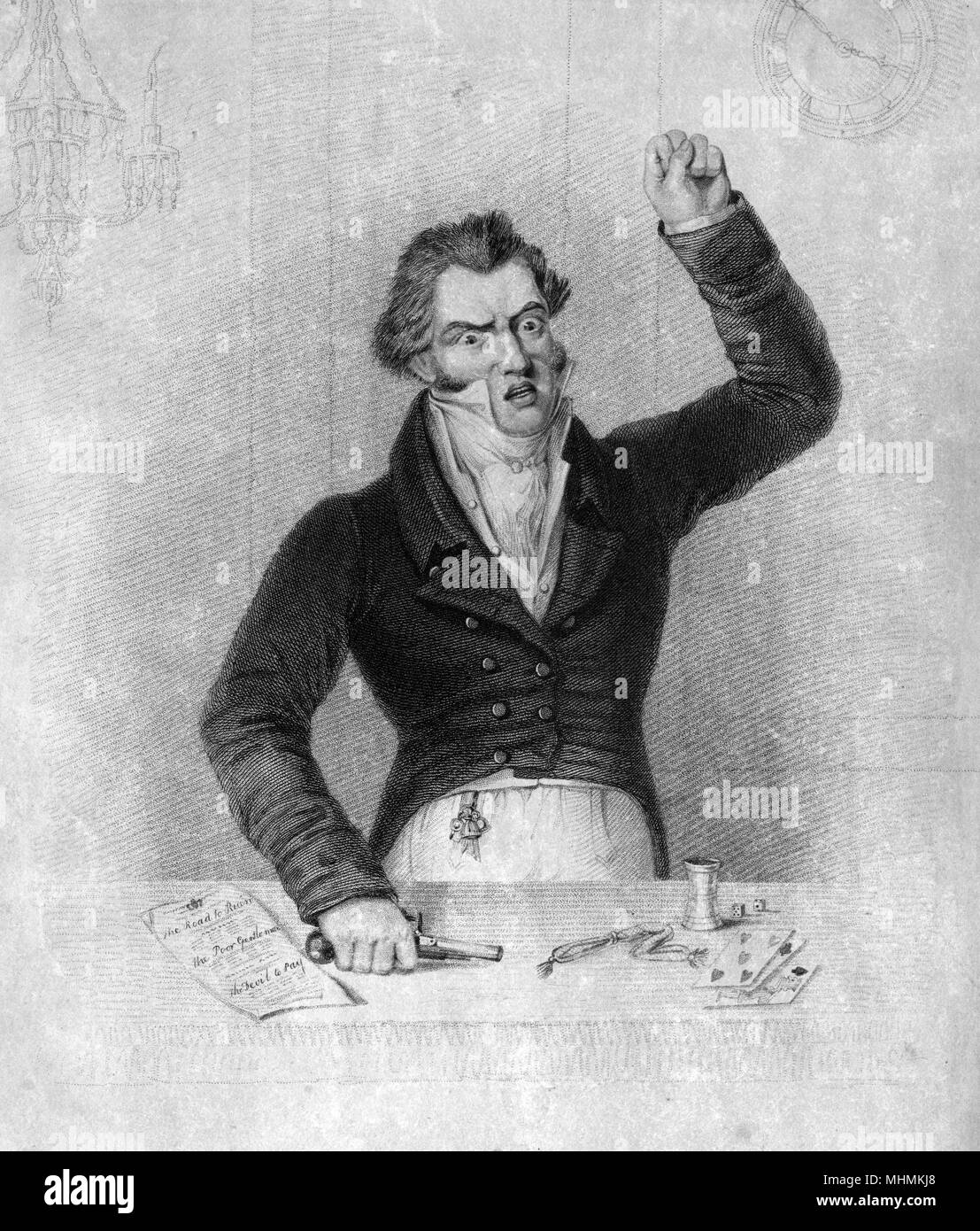 'He loses all... till madness seizes on his fev'rish brain' A gentleman gambler, deep in debt, raises his fist in impotent rage.      Date: circa 1810 - Stock Image