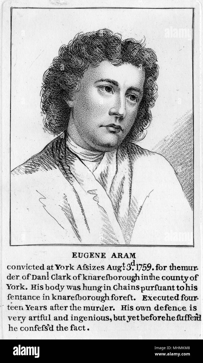 Eugene Aram, an educated criminal who was executed at York on the 6th August 1759, 14 years after the murder of Daniel Clarke      Date: 1704 - 1759 - Stock Image