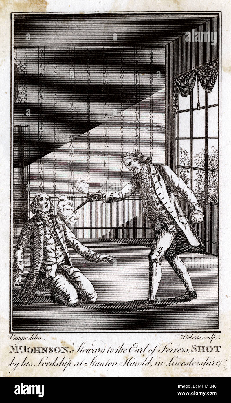 Mr. Johnson, steward to the Earl of Ferrers, shot by his lordship at Stanton Harold in Leicestershire      Date: 18th January 1760 - Stock Image