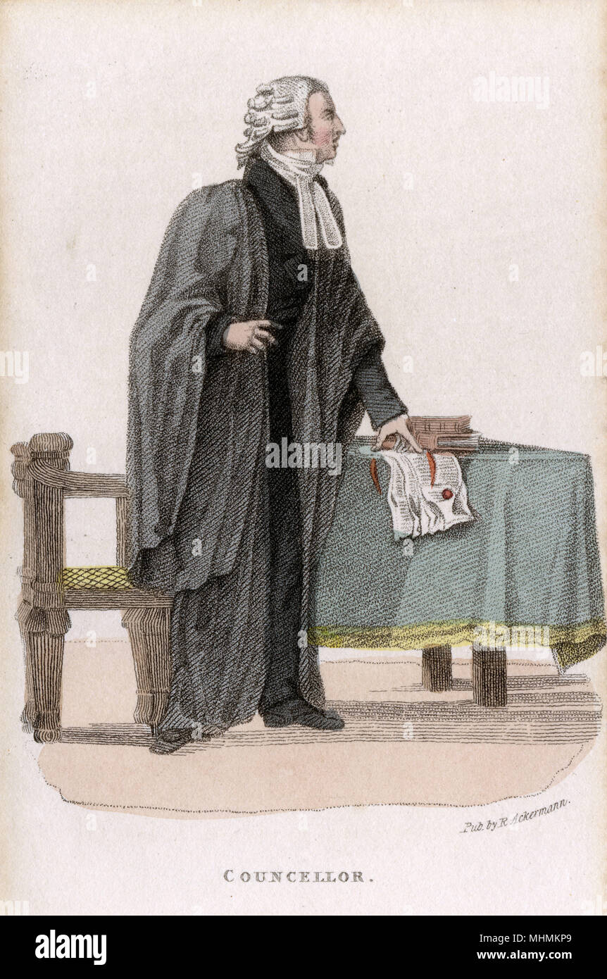 A law counsellor stands poised to address the court.       Date: circa 1828 - Stock Image